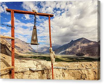 Tibetan Buddhism Canvas Print - Gong At Diskit Monastery by Alexey Stiop