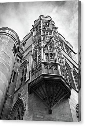 Canvas Print featuring the photograph Gonville And Caius College Library Cambridge In Black And White by Gill Billington
