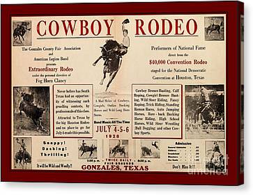 Houston Cowgirl Canvas Print - Gonzales Texas County Fair Cowboy Rodeo Bronco Busting 1928 Texas Cowboy Culture by Peter Gumaer Ogden