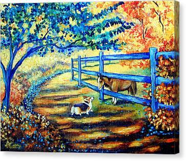 Pet Canvas Print - Good Day Greetings - Pembroke Welsh Corgi by Lyn Cook