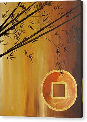 Canvas Print featuring the painting Good Fortune Bamboo 2 by Dina Dargo