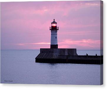 Duluth Canal Park Canal Park Lighthouse Lighthouse Lake Superior Minnesota Canvas Print - Good Morning by Alison Gimpel