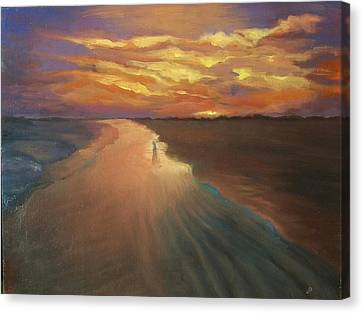 Canvas Print featuring the painting Good Night by Alla Parsons
