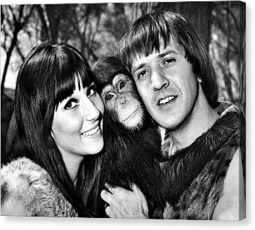 Good Times, Cher, Sonny Bono, On Set Canvas Print by Everett