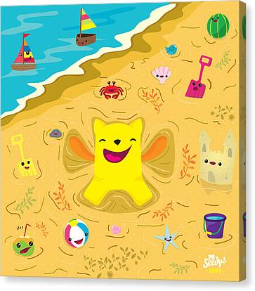 Children Canvas Print - Good Vibes At The Beach by Seedys