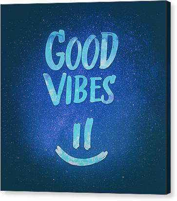 Good Vibes  Funny Smiley Statement Happy Face Blue Stars Edit Canvas Print