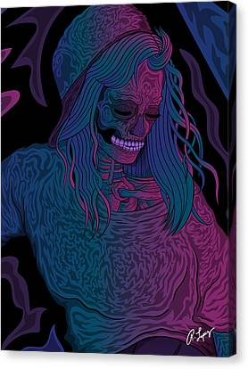 Canvas Print featuring the drawing Good Vibes Skelegirl by Raphael Lopez