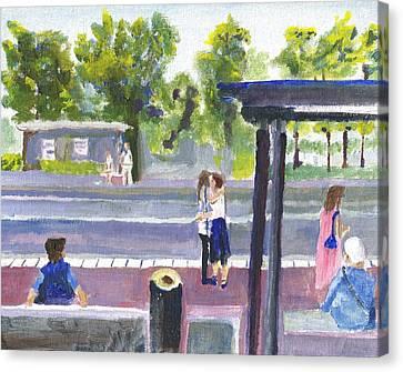 Goodbye Kiss In Gothenburg Sweden Canvas Print