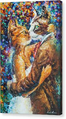 Goodbye My Miau  Canvas Print by Leonid Afremov