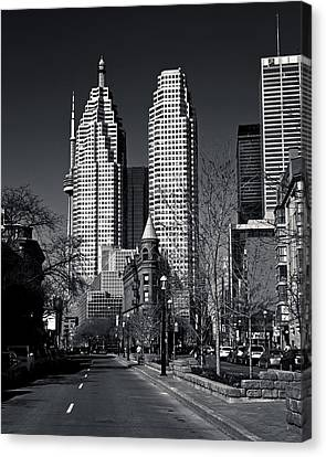 Gooderham Flatiron Building And Toronto Downtown Canvas Print by Brian Carson