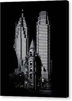 Canvas Print featuring the photograph Gooderham Flatiron Building And Toronto Downtown No 2 by Brian Carson