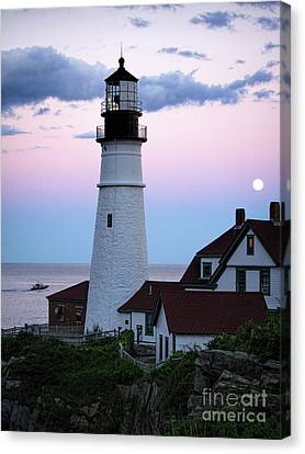 Goodnight Moon, Goodnight Lighthouse  -98588 Canvas Print by John Bald