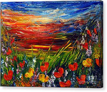 Canvas Print featuring the painting Goodnight... by Teresa Wegrzyn
