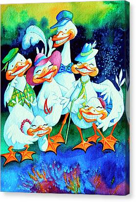 Goofy Gaggle Of Grinning Geese Canvas Print by Hanne Lore Koehler
