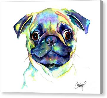 Google Eyed Pug Canvas Print by Christy  Freeman