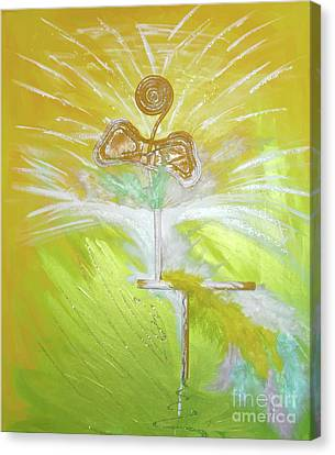 Canvas Print featuring the painting Goood by Ron Labryzz