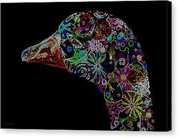 Goose Down Neon Canvas Print by Lesa Fine