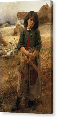 Geese Canvas Print - Goose Girl Of Mezy by Leon Augustin Lhermitte