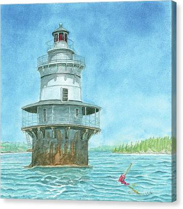 Goose Rocks Light At High Tide Canvas Print by Dominic White