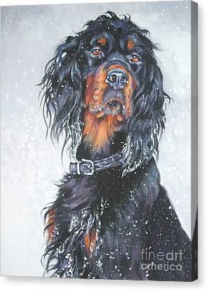 Gordon Setter In Snow Canvas Print by Lee Ann Shepard