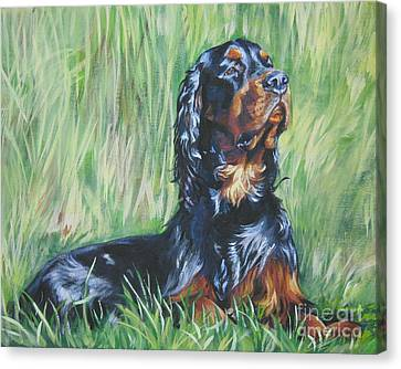 Gordon Setter In The Grass Canvas Print by Lee Ann Shepard