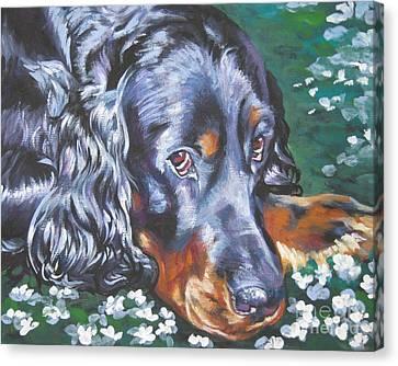 Gordon Setter In Wildflowers Canvas Print by Lee Ann Shepard