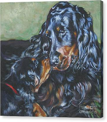 Gordon Setter Mom And Pup Canvas Print by Lee Ann Shepard