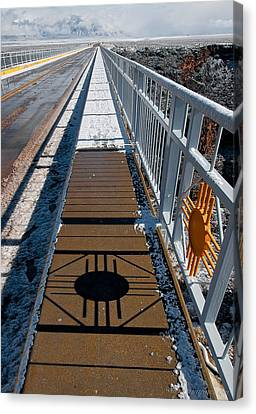Gorge Bridge Zia Symbol Canvas Print by Britt Runyon