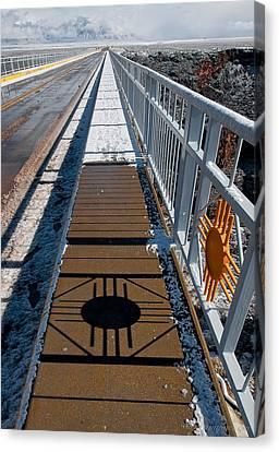 Canvas Print featuring the photograph Gorge Bridge Zia Symbol by Britt Runyon