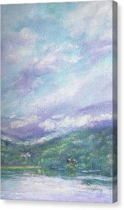 Canvas Print featuring the painting Gorgeous Lake Landscape by Judith Cheng