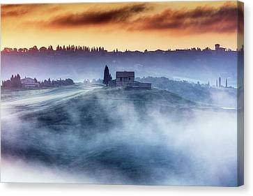 Gorgeous Tuscany Landcape At Sunrise Canvas Print by Evgeni Dinev