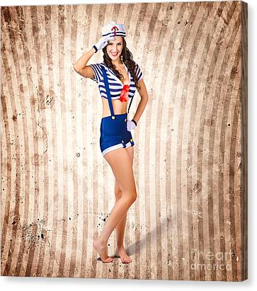 Gorgeous Young Retro Pinup Sailor Girl Canvas Print by Jorgo Photography - Wall Art Gallery
