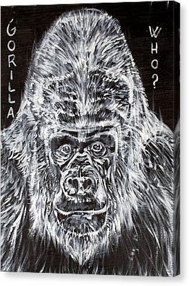 Canvas Print featuring the painting Gorilla Who? by Fabrizio Cassetta