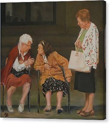 Gossip Canvas Print by George Kramer