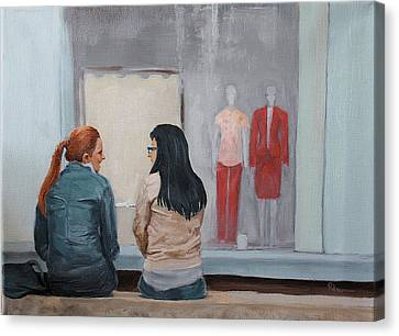 Canvas Print featuring the painting Gossip by Rachel Hames