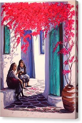 Gossips Canvas Print by Yvonne Ayoub