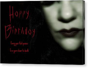 Goth Birthday Card Canvas Print by Lisa Knechtel