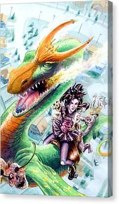 Goth Girl Canvas Print - Goth Dragon by Ken Meyer
