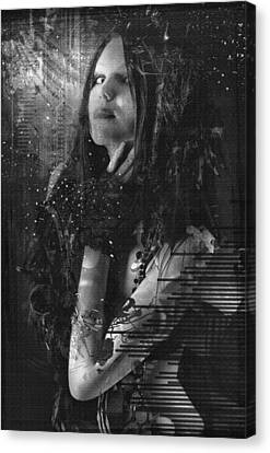 Goth Girl - Black And White Canvas Print by Rosemary Smith