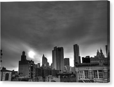 Gotham Black And White Canvas Print by Randy Aveille
