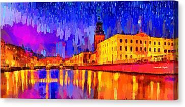 Canal Canvas Print - Gothenburg Sweden 2 - Da by Leonardo Digenio