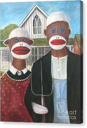Canvas Print featuring the painting Gothic American Sock Monkeys by Randol Burns