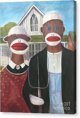 Gothic American Sock Monkeys Canvas Print by Randy Burns