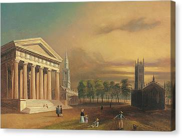 Gothic Church, New Haven Canvas Print by William Henry Bartlett