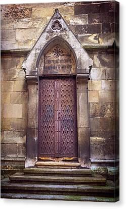 Historic Architecture Canvas Print - Gothic Door Bratislava Cathedral  by Carol Japp