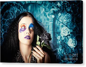 Gothic Girl Holding Black Rose. Death And Mourning Canvas Print