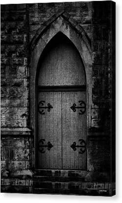 Gothic Door Memphis Church Bw Canvas Print