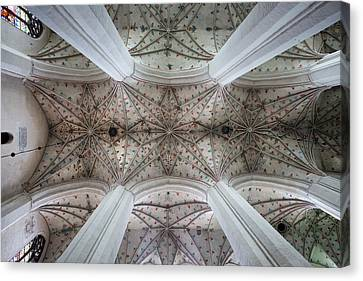Medieval Temple Canvas Print - Gothic Ribbed Vault Of Torun Cathedral by Artur Bogacki