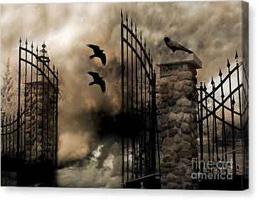 Gothic Surreal Fantasy Ravens Gated Fence  Canvas Print by Kathy Fornal