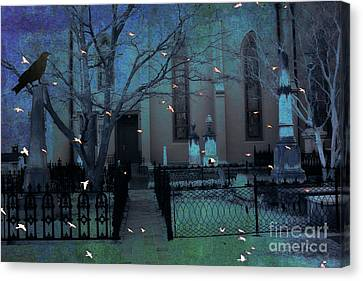 Gothic Surreal Ravens Crows Cemetery Landscape Canvas Print by Kathy Fornal
